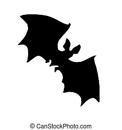 vector silhouette bat on white background