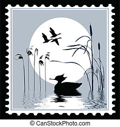 vector silhouette bird on postage stamps
