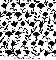 Vector Silhouette Black White Turkish Flowers Seamless Pattern