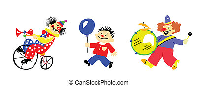 vector, silhouette, clown, op wit, achtergrond