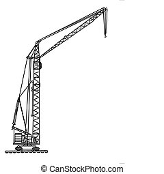 vector silhouette crane on white background