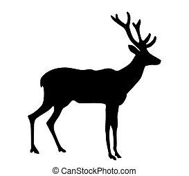 vector silhouette deer on white background