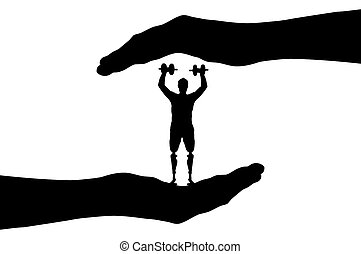 Vector silhouette disabled athlete with a prosthetic leg with dumbbells in hand
