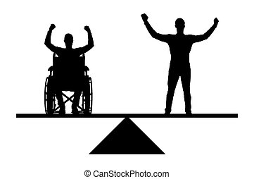 Vector silhouette disabled person in a wheelchair equal rights in the balance with healthy