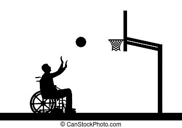 Vector silhouette disabled person playing basketball in a wheelchair