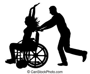 Vector silhouette disabled woman in a wheelchair is having fun with a man