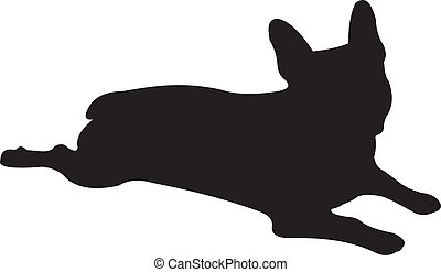 vector, silhouette, dog