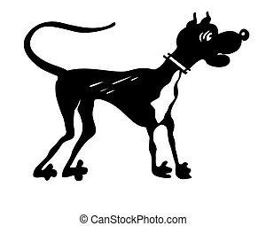 vector silhouette dog on white background