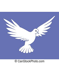 vector silhouette dove on blue background