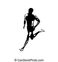 vector, silhouette., drawing., rennende , man, vrijstaand, uitvoeren, inkt