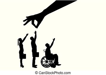 Vector silhouette employer's hand chooses a healthy worker from a crowd of people and not an invalid in a wheelchair