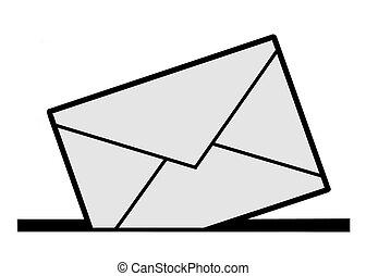 vector silhouette envelope on white background