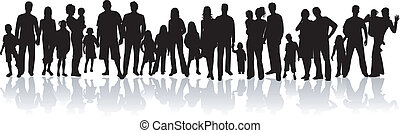 Vector silhouette  - family