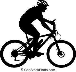 vector, silhouette, fietser, male., illustratie