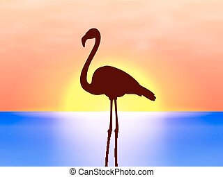 Vector silhouette flamingo on a background sunset