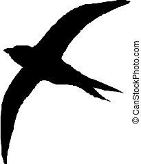 vector silhouette flying bird