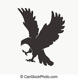 silhouette flying eagle on a white background