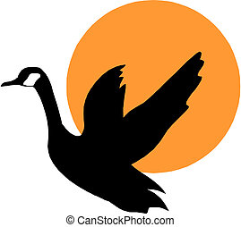 vector silhouette flying geese