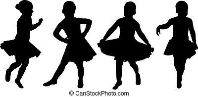 vector silhouette girl dan%u0441ing