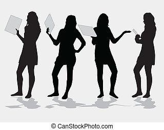 Vector silhouette girls