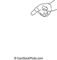 vector silhouette hand on white background