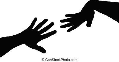 vector, silhouette, handen