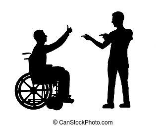 Vector silhouette happy disabled person in a wheelchair and...