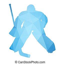 Vector silhouette hockey goalie. Abstract geometrical figure