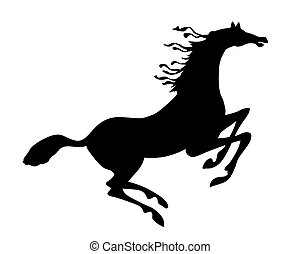 vector silhouette horse on white background