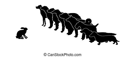 vector silhouette hunt dogs and rabbit on white background