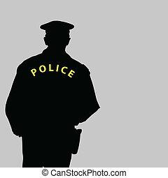 vector, silhouette, illustratie, politieagent