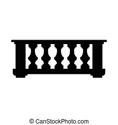Vector silhouette illustration of an ancient iconic balcony isolated on white background