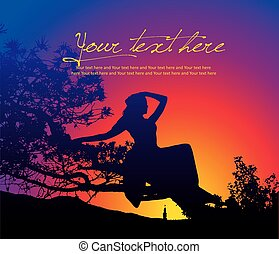 Vector silhouette illustration of yang sexy girl sitting on the tree