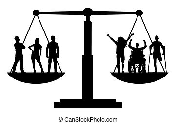 Vector silhouette invalids equal in rights in the balance...