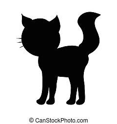 vector, silhouette, kat