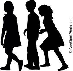 vector, silhouette, kinderen, samen