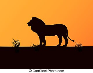 Vector silhouette lion on the background of sunset