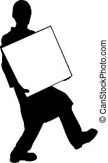 Vector silhouette - man carries a white box