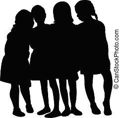 vector, silhouette, meiden, samen