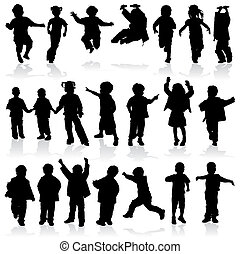 vector, silhouette, meisjes en jongens