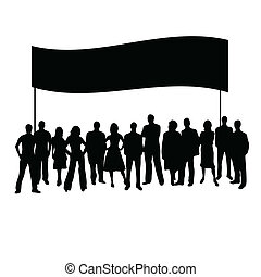 vector, silhouette, mensen