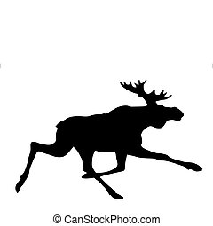 vector silhouette moose on white background
