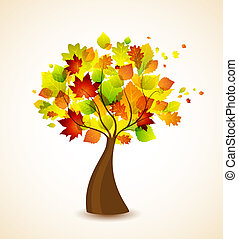 autumn tree - Vector silhouette of a autumn tree
