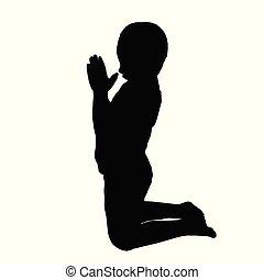 Vector silhouette of a boy who pray
