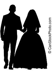 Vector silhouette of a bride and groom holding hands. The wedding couple