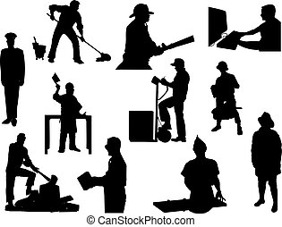 vector silhouette of a different profession