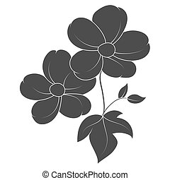 Vector silhouette of a flower with leaves on a white background for design.