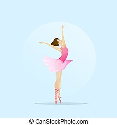 Vector silhouette of a girl dancing in ballet. Plastic and acrobatics.