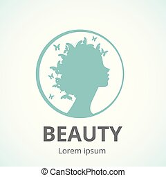 Vector silhouette of a girl in profile template icon or an abstract concept for beauty salons, spa, cosmetics, fashion and beauty industry