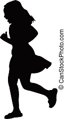 Vector silhouette of a girl while running